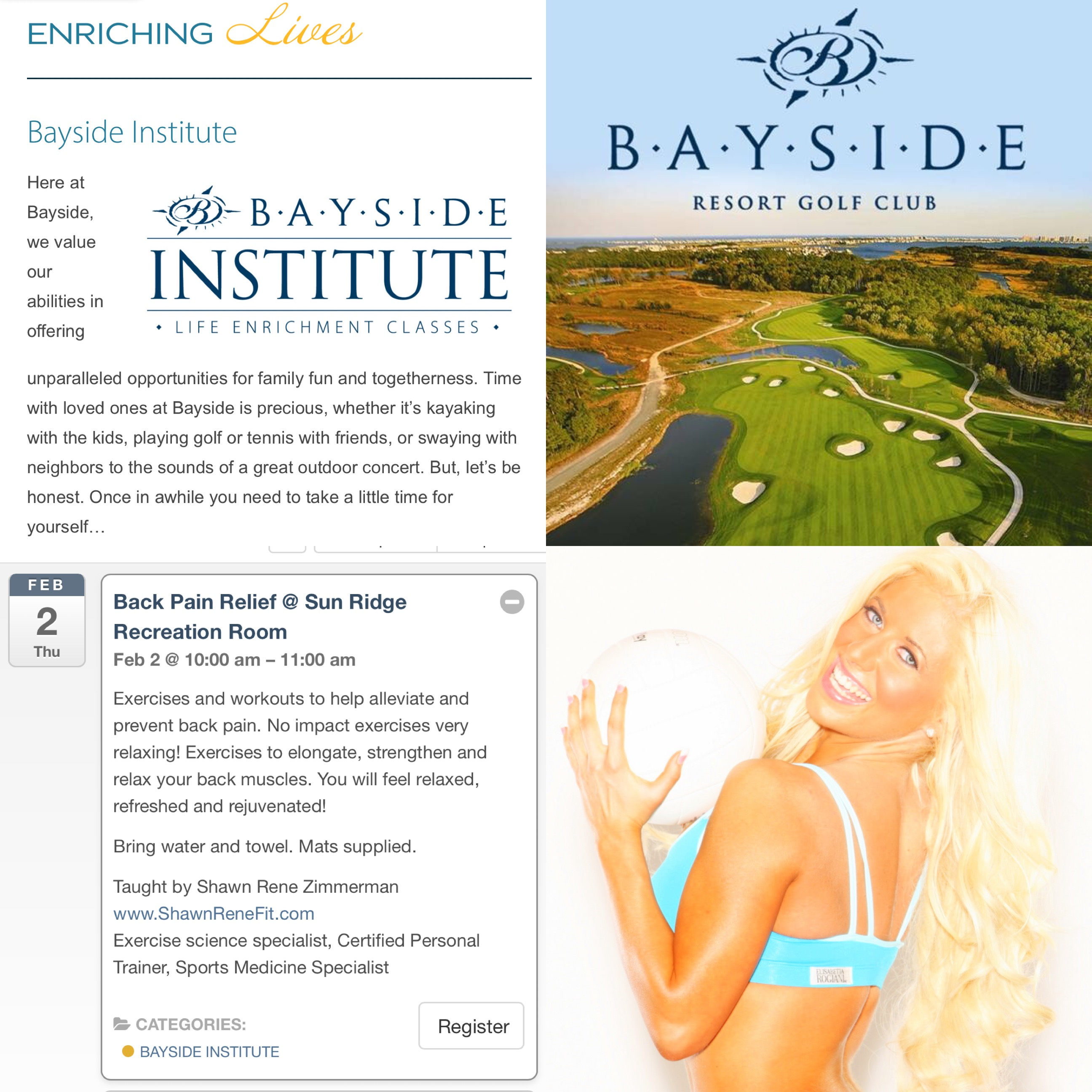 Bayside Golf Resort health fitness personal trainer fitness model nutrition